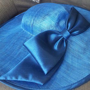 JOSETTE wide brim bow straw hat - Blue